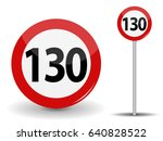 round red road sign  speed... | Shutterstock .eps vector #640828522