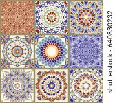 collection of 9 ceramic tiles... | Shutterstock .eps vector #640830232