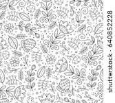 floral black and white seamless ... | Shutterstock .eps vector #640852228