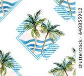watercolor palm tree print in... | Shutterstock . vector #640855912