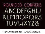 decorative sans serif font with ... | Shutterstock .eps vector #640860526