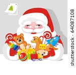 Santa Claus with gifts - stock vector