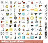 100 mechanics icons set in flat ...   Shutterstock .eps vector #640872226