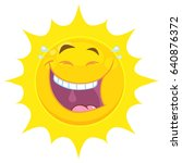 laughing yellow sun cartoon... | Shutterstock . vector #640876372