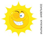 winking yellow sun cartoon... | Shutterstock . vector #640876432