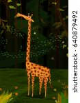 wild animal giraffe in jungle... | Shutterstock .eps vector #640879492