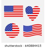american flag icon set. waving  ... | Shutterstock .eps vector #640884415