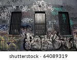 messy graffiti  painted on a... | Shutterstock . vector #64089319