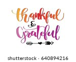 thankful and grateful on white... | Shutterstock .eps vector #640894216