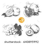 set of fruits in a vintage... | Shutterstock .eps vector #640895992