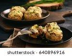 baked mushroom caps stuffed... | Shutterstock . vector #640896916