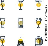 vector illustration of 9 drinks ... | Shutterstock .eps vector #640901968