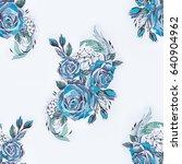 seamless pattern of blue roses... | Shutterstock . vector #640904962