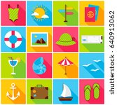 summer travel colorful icons.... | Shutterstock .eps vector #640913062