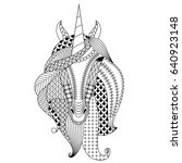 hand drawn unicorn. coloring... | Shutterstock .eps vector #640923148