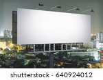 side view of empty billboard on ... | Shutterstock . vector #640924012