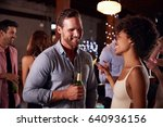 white man and mixed race woman... | Shutterstock . vector #640936156