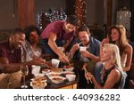 young adults sharing a chinese... | Shutterstock . vector #640936282