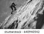 climber climbs on the rock wall....   Shutterstock . vector #640940542
