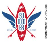 surfing label with surfboard ... | Shutterstock .eps vector #640947808