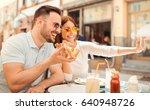 dating in pizzeria. handsome... | Shutterstock . vector #640948726