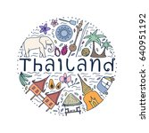 symbols of thailand. hand drawn ... | Shutterstock .eps vector #640951192