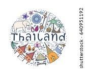symbols of thailand. hand drawn ...   Shutterstock .eps vector #640951192