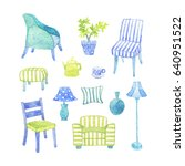 watercolor furniture and... | Shutterstock . vector #640951522