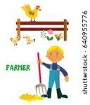 farmer character cartoon ... | Shutterstock .eps vector #640955776