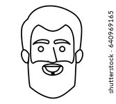 monochrome contour of smiling... | Shutterstock .eps vector #640969165
