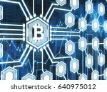 large bitcoin icon is the... | Shutterstock . vector #640975012