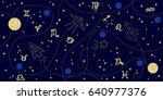 zodiac sky. abstract seamless... | Shutterstock .eps vector #640977376