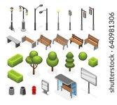 isometric city street outdoor... | Shutterstock . vector #640981306