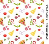 pattern with pizza and... | Shutterstock .eps vector #640981966