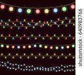 festive christmas garland... | Shutterstock . vector #640983766