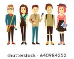 teenagers  students with... | Shutterstock . vector #640984252