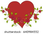 big red heart with garland of... | Shutterstock .eps vector #640984552