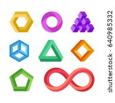 impossible geometric shapes set.... | Shutterstock . vector #640985332