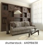 modern living room interior. 3d ... | Shutterstock . vector #64098658