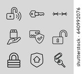 secure icons set. set of 9... | Shutterstock .eps vector #640992076