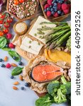 selection assortment of healthy ... | Shutterstock . vector #640992526