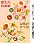 british cuisine lunch icon set... | Shutterstock .eps vector #640993726