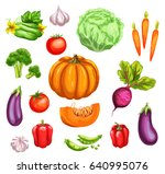 fresh vegetable watercolor set. ...   Shutterstock .eps vector #640995076