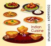 indian cuisine dinner dishes... | Shutterstock .eps vector #640995502