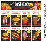 fast food restaurant menu board ... | Shutterstock .eps vector #640996252