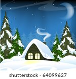 Small House In A Snowy Forest....