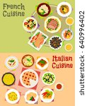 italian and french cuisine...   Shutterstock .eps vector #640996402