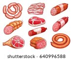 sausage and meat sketch set.... | Shutterstock .eps vector #640996588