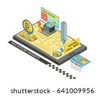 call taxi by gadget isometric... | Shutterstock .eps vector #641009956