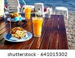 stuffed potato with vegetables... | Shutterstock . vector #641015302